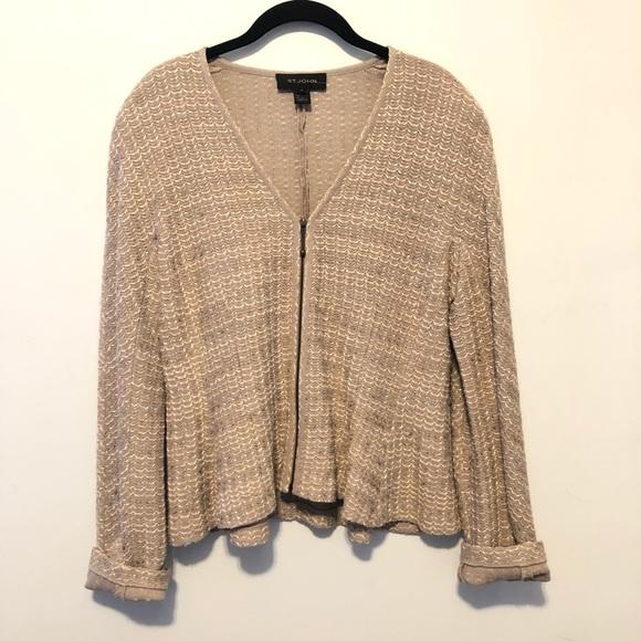 St. John Knit Zip-Front Cardigan Jacket Cream Gold